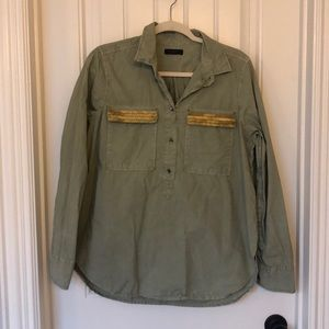 JCREW Army Green Embellished Popover size 12